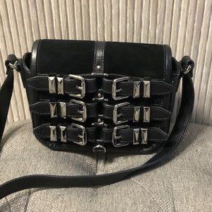 The Kooples Black Suede Leather Crossbody Bag